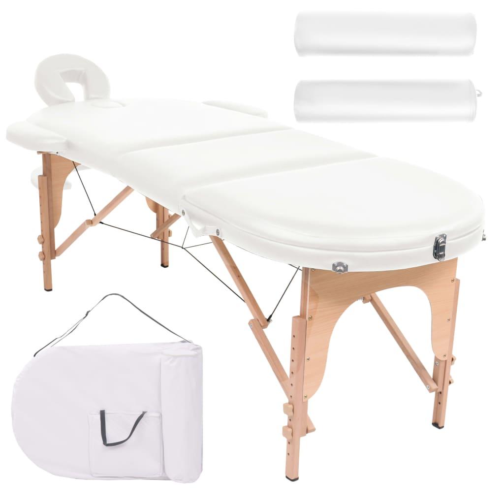 vidaXL Masă masaj pliabilă, 4 cm grosime, cu 2 perne, alb, oval poza vidaxl.ro