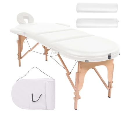 vidaXL Massageliege Tragbar mit 2 Lagerungskissen 10 cm Polsterung Weiß[1/12]