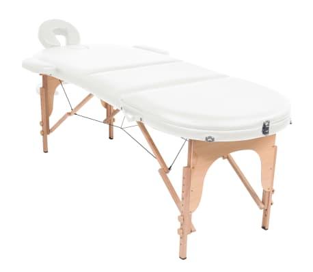 vidaXL Massageliege Tragbar mit 2 Lagerungskissen 10 cm Polsterung Weiß[2/12]