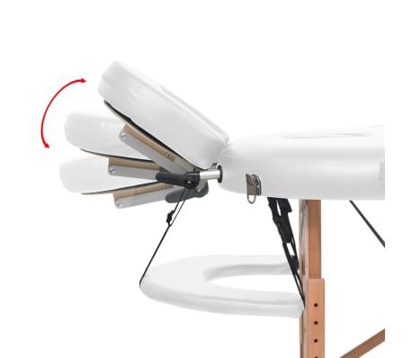 vidaXL Massageliege Tragbar mit 2 Lagerungskissen 10 cm Polsterung Weiß[10/12]