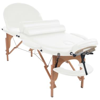 vidaXL Massageliege Tragbar mit 2 Lagerungskissen 10 cm Polsterung Weiß[3/12]