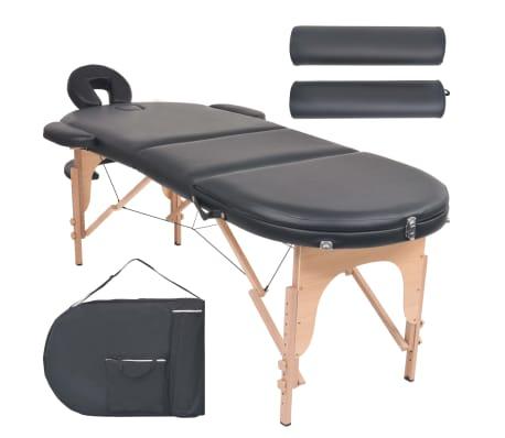 vidaXL Sulankst. masaž. stal., 10 cm storio, su 2 atram., oval., juod.[1/12]