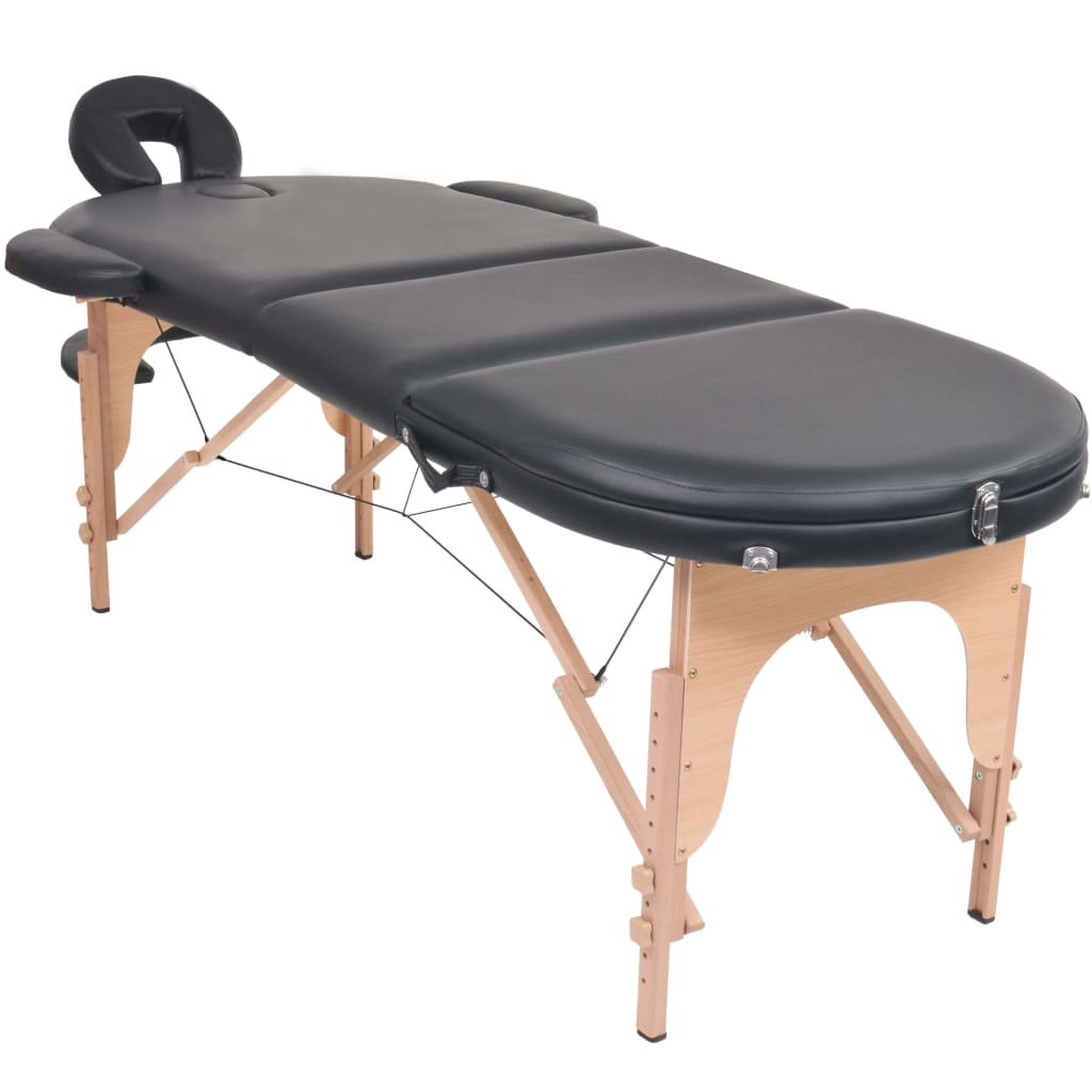 vidaXL Skládací masážní stůl tloušťka 10 cm se 2 opěrkami oválný černý