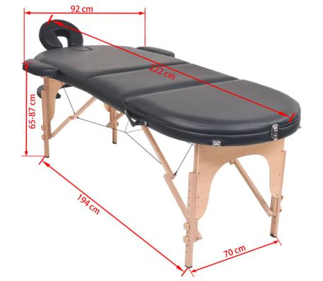 vidaXL Table de massage pliable 10 cm d'épaisseur et 2 traversins Noir[12/12]