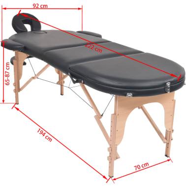 vidaXL Sulankst. masaž. stal., 10 cm storio, su 2 atram., oval., juod.[12/12]