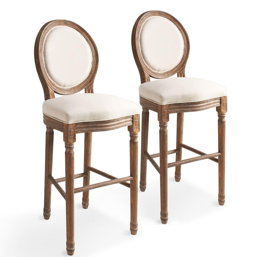vidaXL Καρέκλες Μπαρ 2 τεμ. Λευκό Κρεμ 48 x 52 x 123 εκ. Λινό Ύφασμα