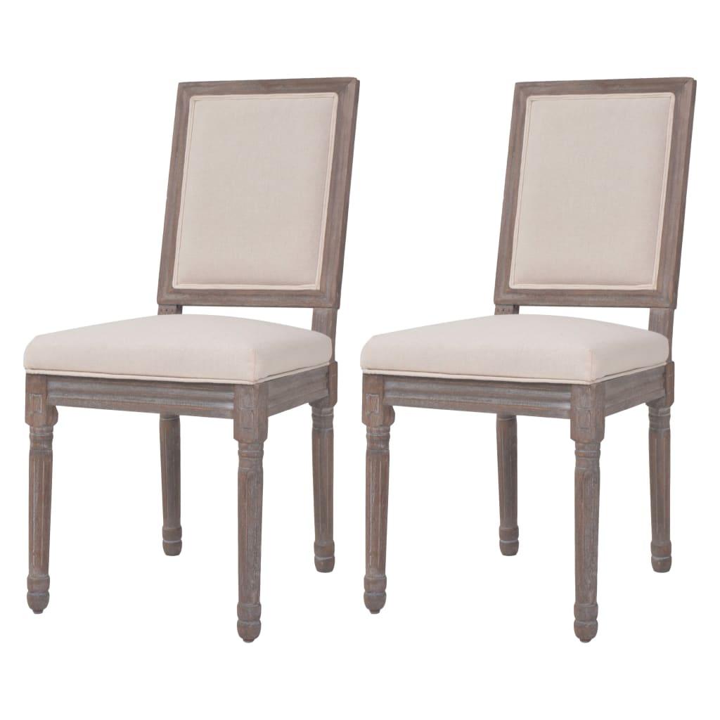 vidaXL Jídelní židle 2 ks lněné 47 x 58 x 98 cm krémově bílé