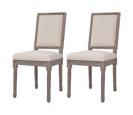 Vidaxl sillas de comedor de lino blanco crema 47x58x98 cm 2 unidades - Vidaxl sillas ...