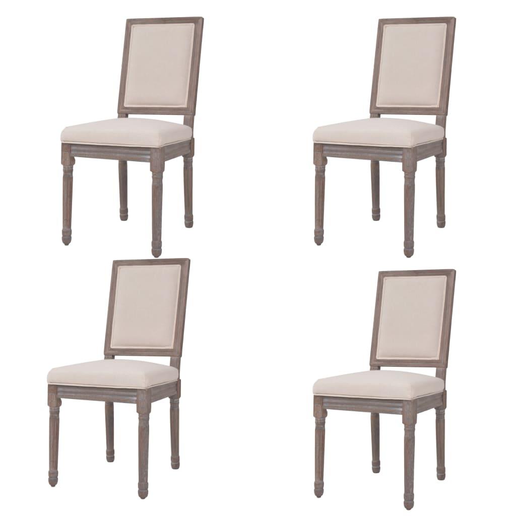 vidaXL Καρέκλες Τραπεζαρίας 4 τεμ. Λευκό Κρεμ 47x58x98 εκ. Λινό Ύφασμα