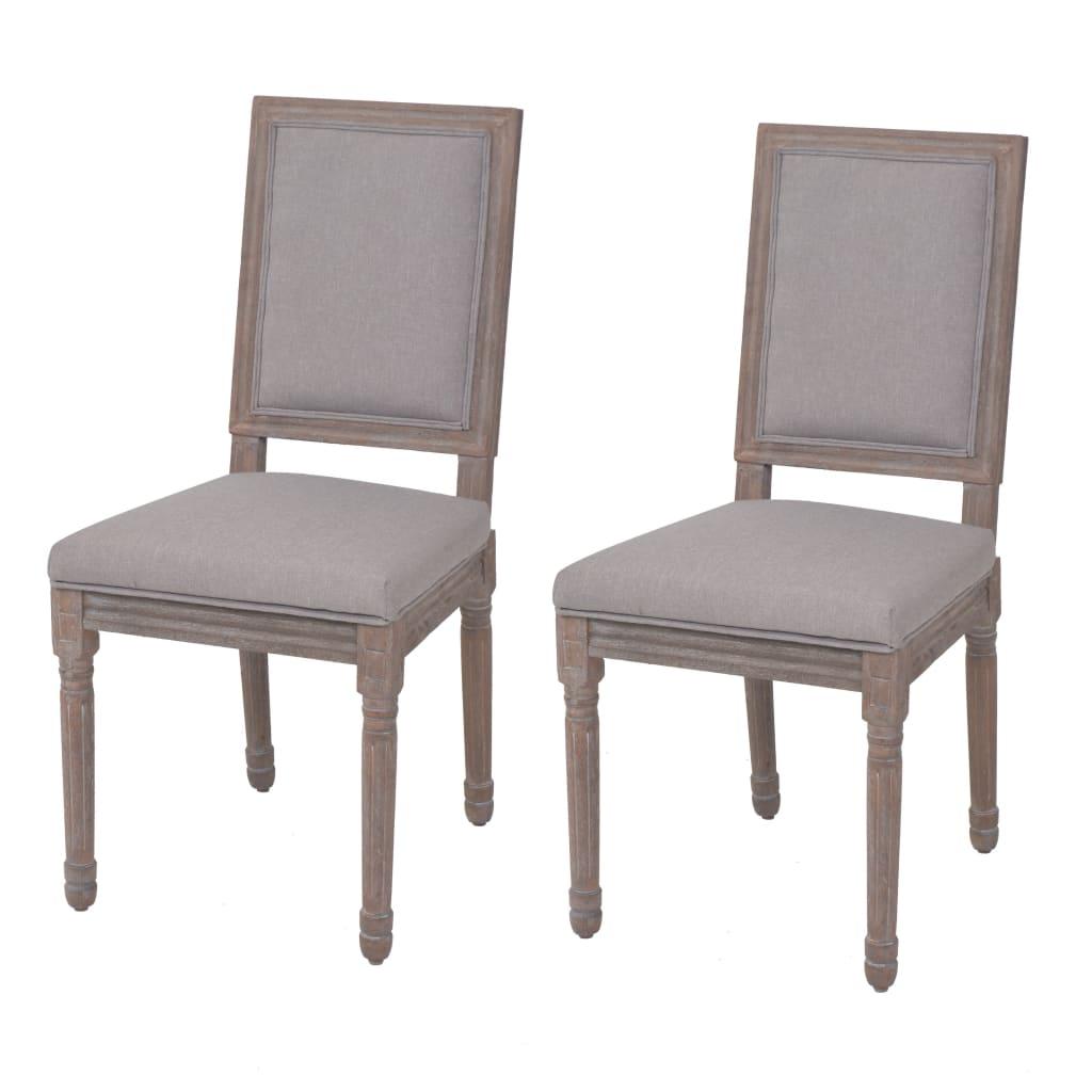 vidaXL Καρέκλες Τραπεζαρίας 2 τεμ. Αν. Γκρι 47x58x98 εκ. Λινό Ύφασμα