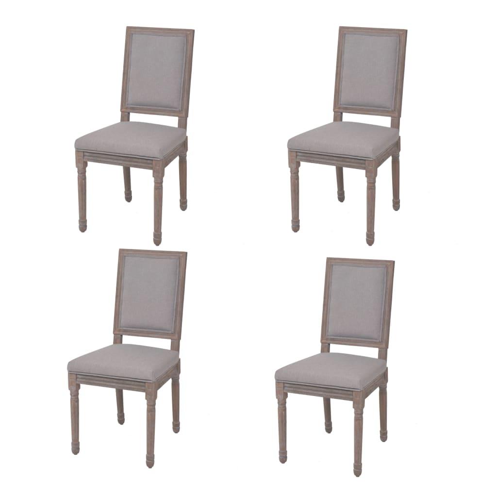 vidaXL Καρέκλες Τραπεζαρίας 4 τεμ. Αν. Γκρι 47x58x98 εκ. Λινό Ύφασμα