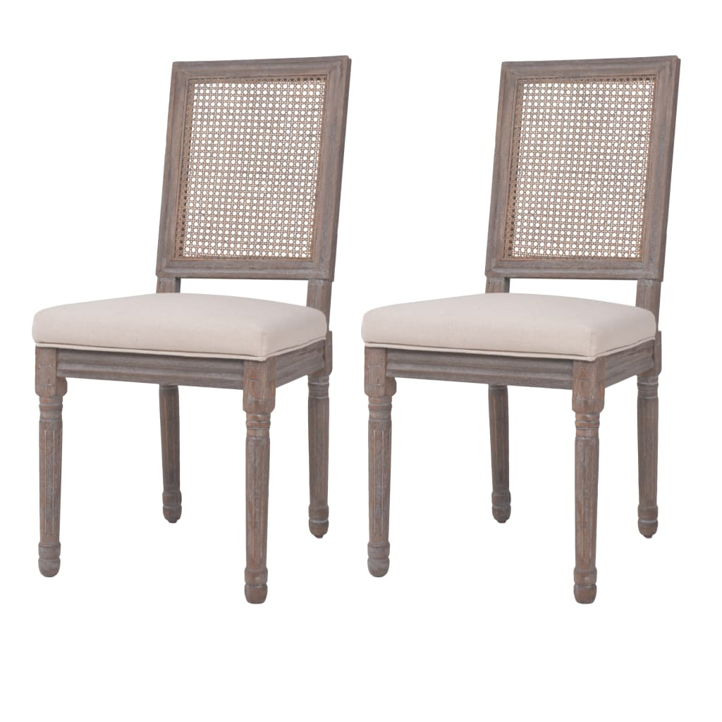 vidaXL Jídelní židle 2 ks lněné ratanové 47 x 58 x 98 cm krémově bílé