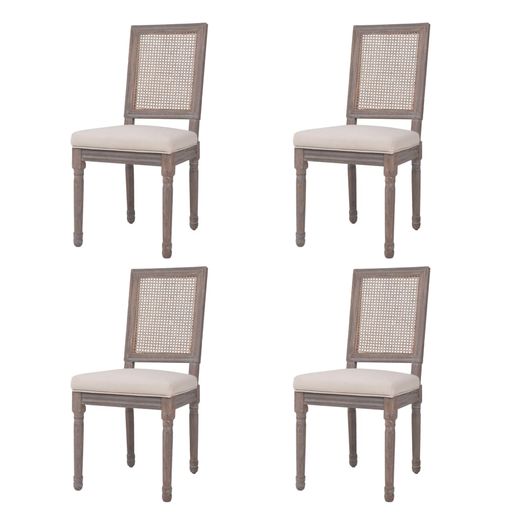 vidaXL Καρέκλες Τραπεζαρίας 4 τεμ. Λευκό Κρεμ 47x58x98 εκ. Λινό/Ρατάν