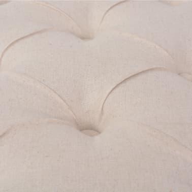 vidaXL Suoliukas iš lino, mediena, 110x38x48cm, kreminės baltos sp.[5/6]