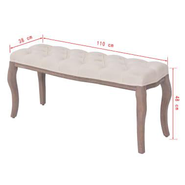 vidaXL Suoliukas iš lino, mediena, 110x38x48cm, kreminės baltos sp.[6/6]