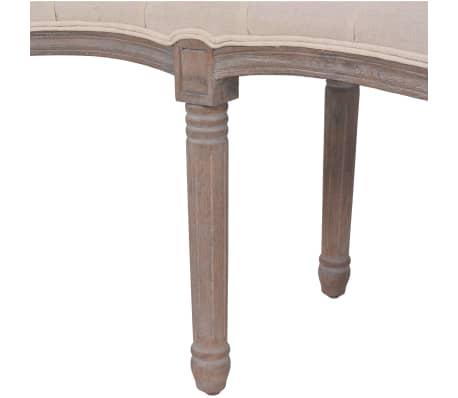 vidaXL Suolelis iš lino, mediena, 150x40x48cm, kreminės baltos sp.[5/7]