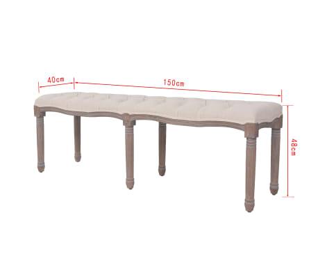 vidaXL Suolelis iš lino, mediena, 150x40x48cm, kreminės baltos sp.[7/7]
