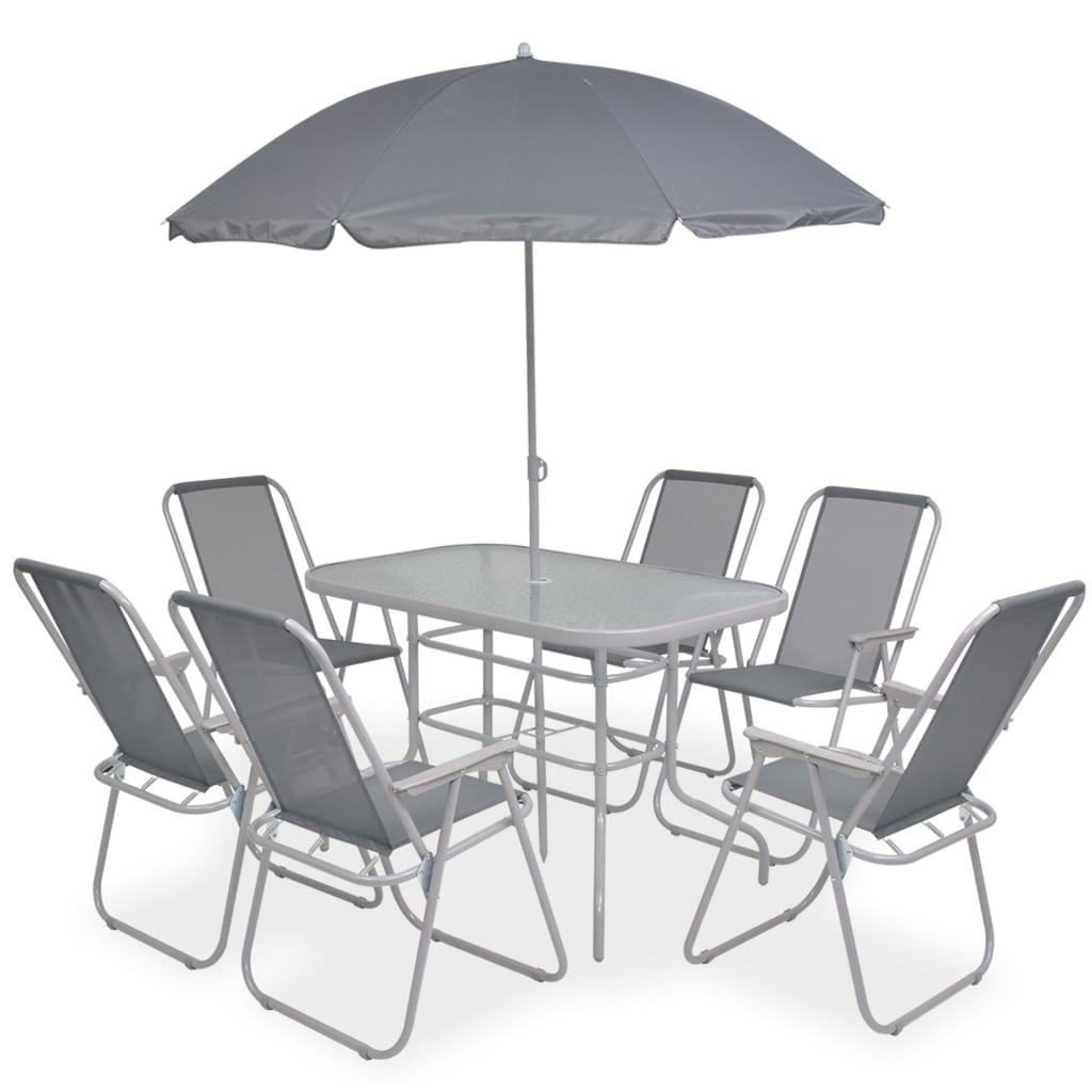 vidaXL 8dílná sada venkovního jídelního nábytku, textilen, šedý