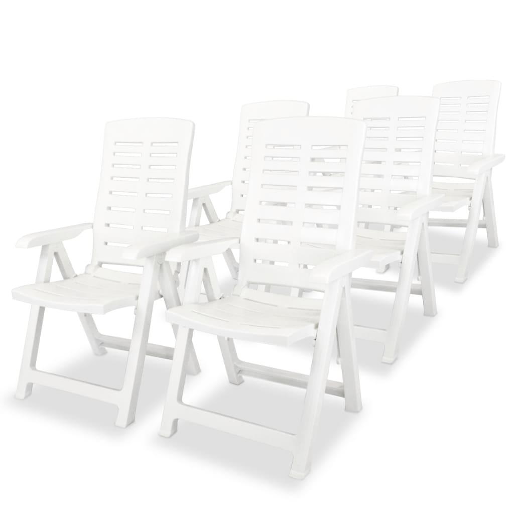 vidaXL Polohovatelné zahradní křesílko 6 ks, plast, bílé, 60x61x108 cm