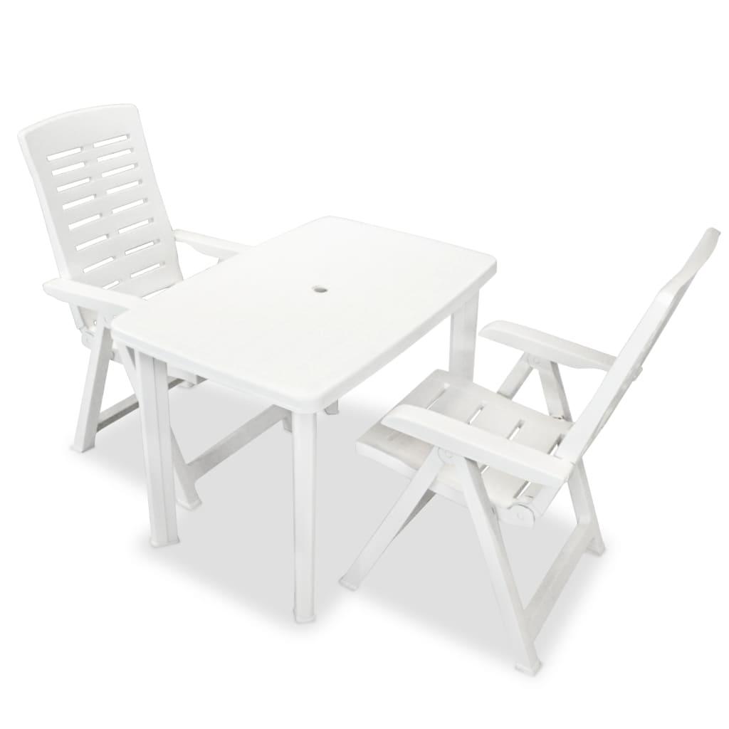 vidaXL Zahradní nábytek jídelní set 3 kusy 101x68x72 cm bílá