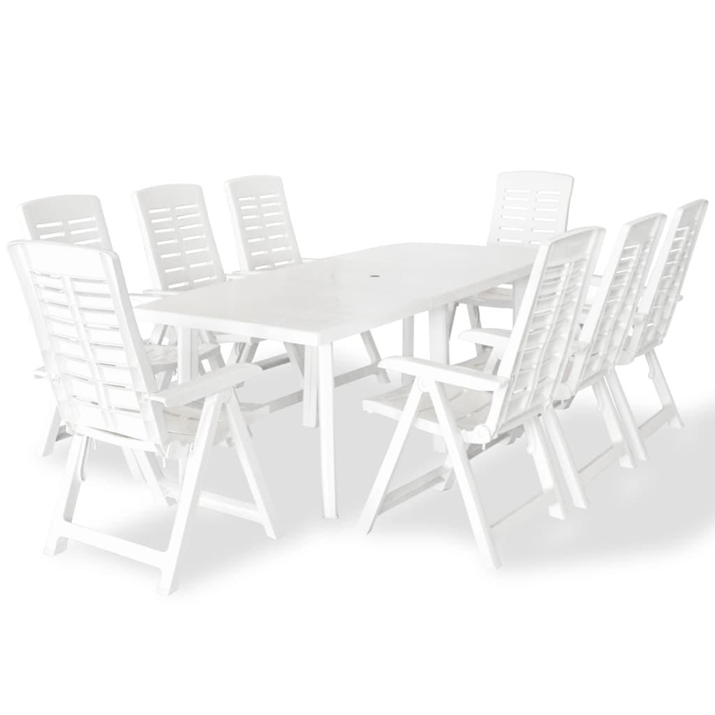 vidaXL Zahradní nábytek jídelní set 9 kusů 210x96x72 cm bílá