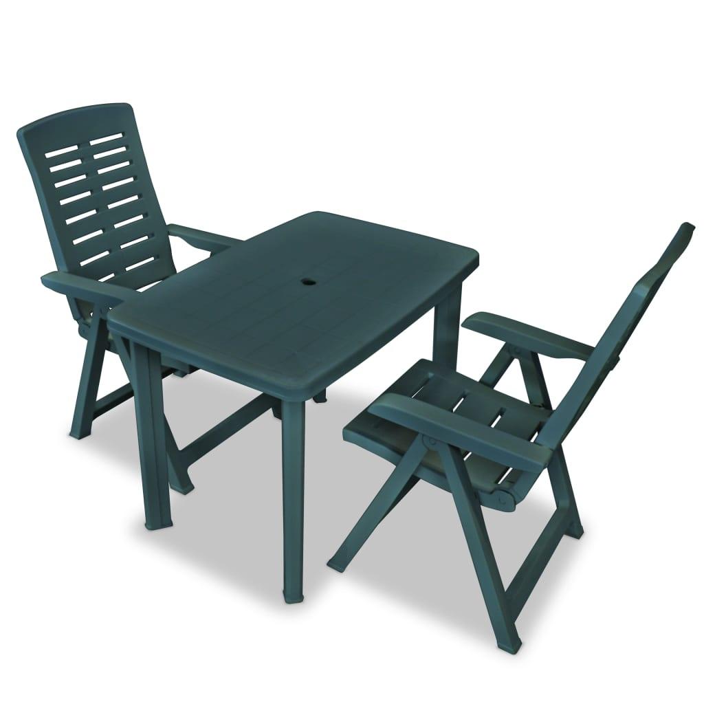vidaXL Zahradní nábytek jídelní set 3 kusy 101x68x72 cm zelená