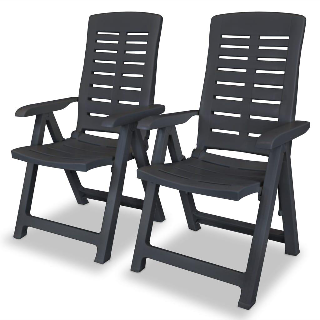 vidaXL Polohovatelná zahradní židle 2 ks 60x61x108cm plast antracitová