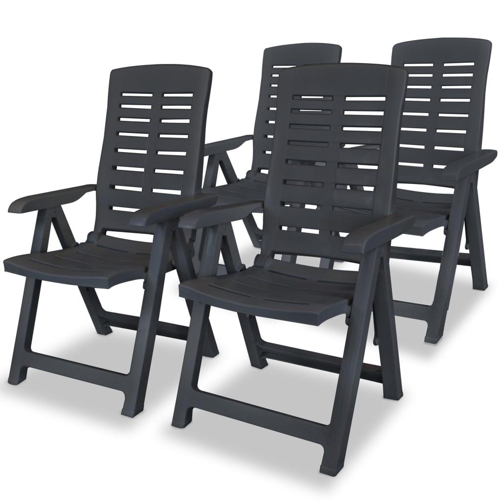 vidaXL Polohovatelná zahradní židle 4 ks 60x61x108cm plast antracitová