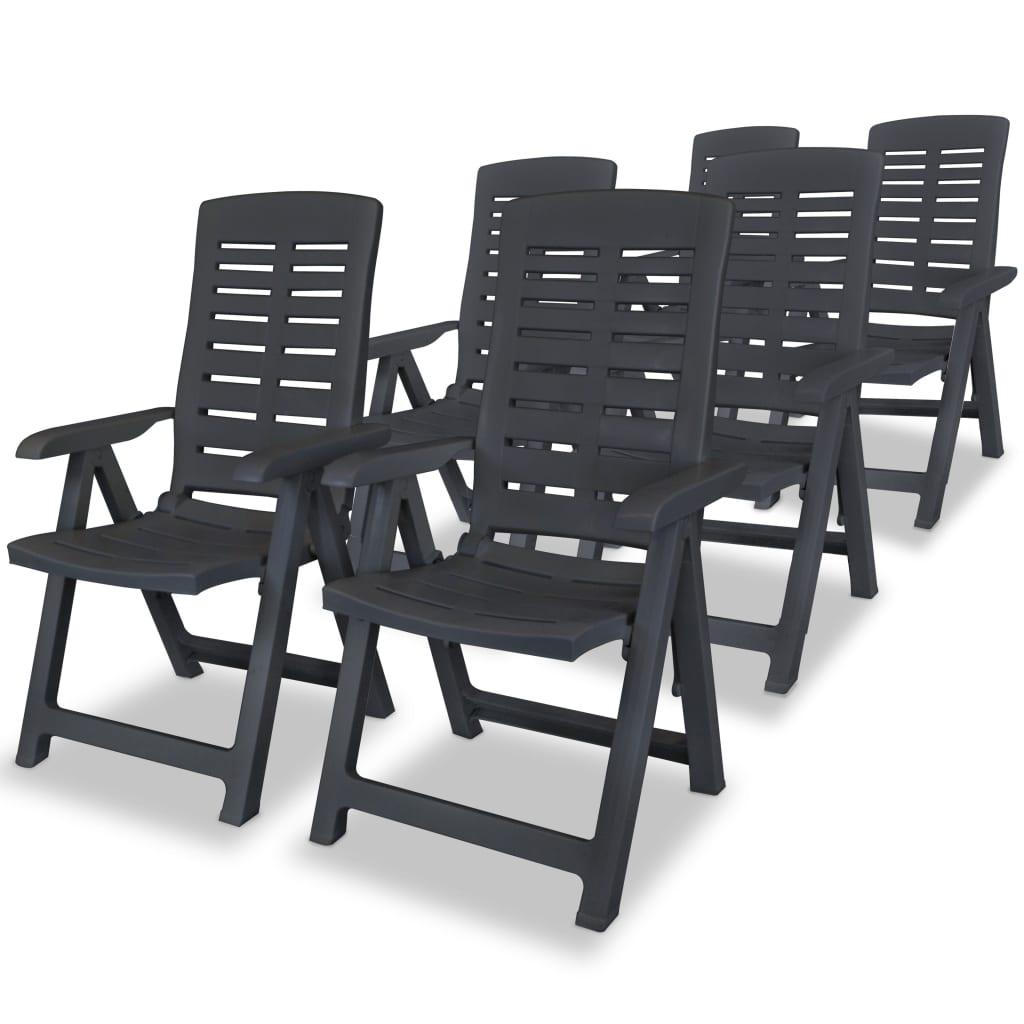 vidaXL Polohovatelná zahradní židle 6 ks 60x61x108cm plast antracitová