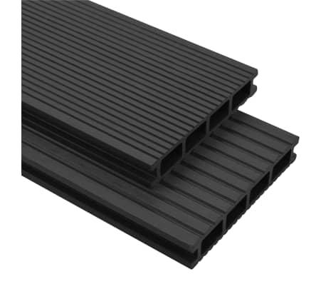 vidaXL WPC Terrassendielen mit Zubehör 20 m² 2,2 m Anthrazit