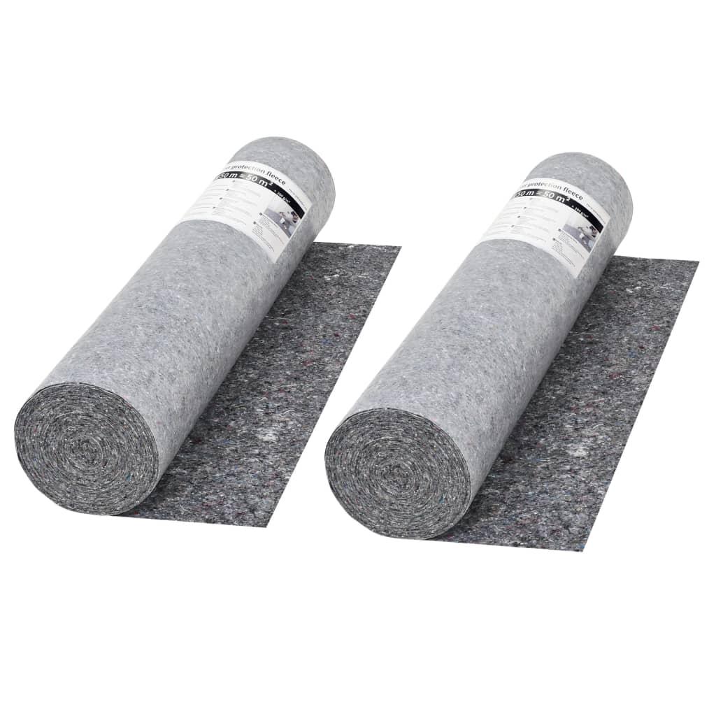 Protiskluzové folie, malířský fleece 2ks 50 m 280 g/m², šedá