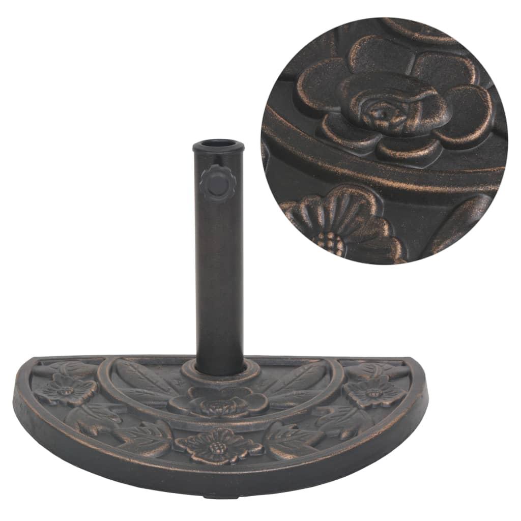 vidaXL Suport umbrelă de soare, rășină, semicerc, bronz, 9 kg imagine vidaxl.ro