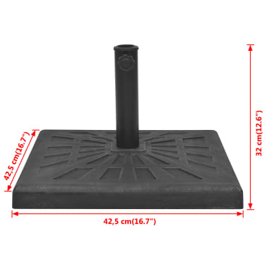 vidaXL Parasol Base Resin Square Black 26.5 lb[8/8]
