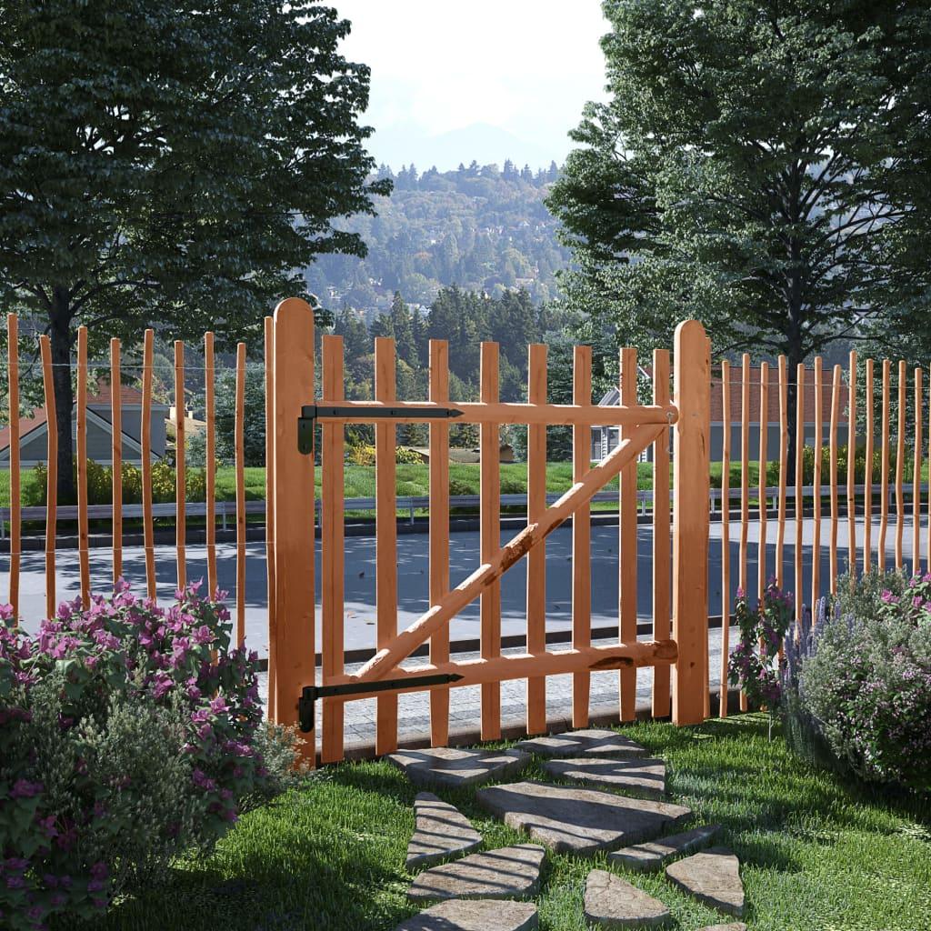 vidaXL Poarta de gard simplă, lemn de alun tratat, 100 x 100 cm vidaxl.ro