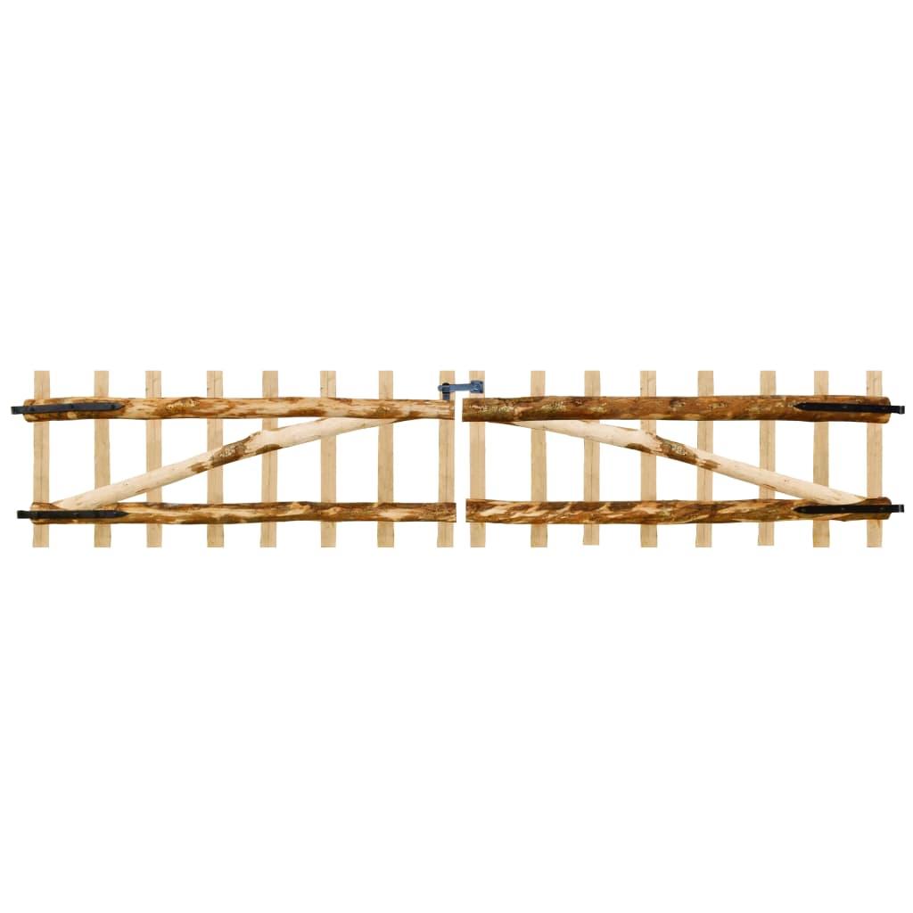 vidaXL Cancello Doppio per Recinzione in Legno di Nocciolo 300x60 cm