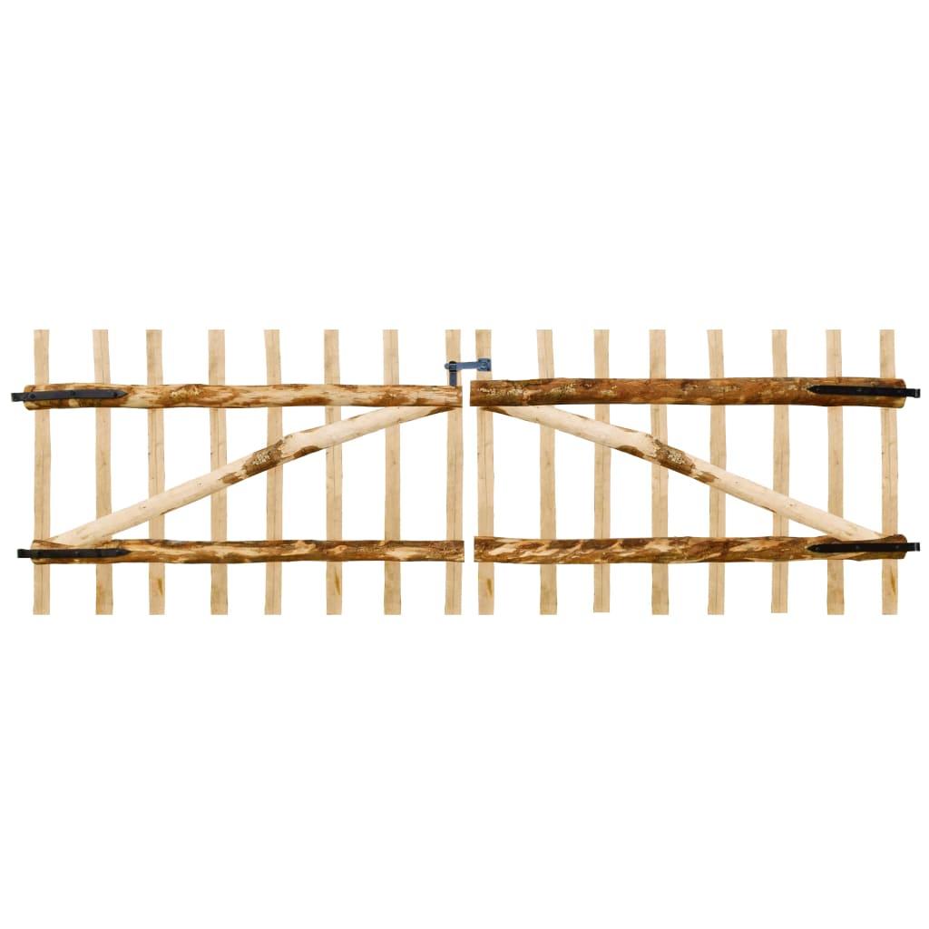 vidaXL Poartă dublă de gard, lemn de alun, 300 x 100 cm poza 2021 vidaXL