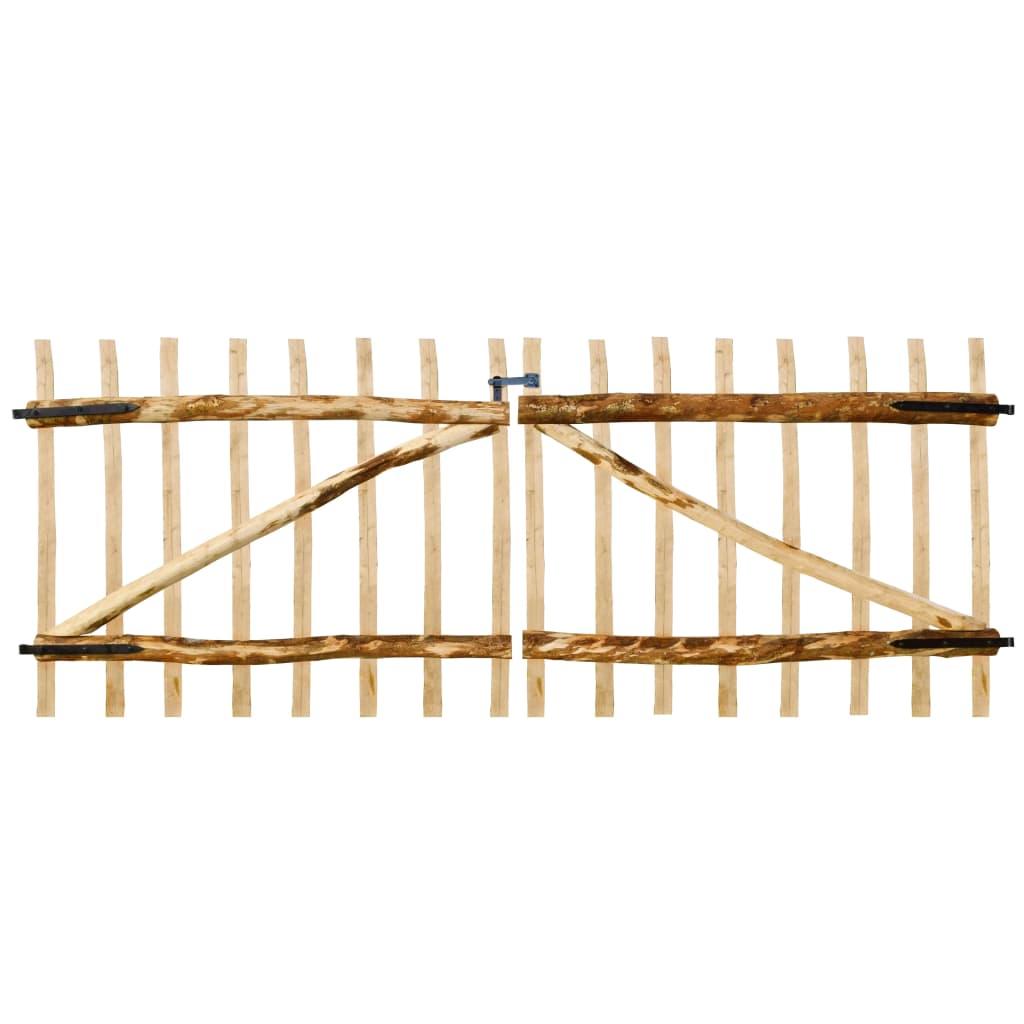 vidaXL Poartă dublă de gard, lemn de alun 300 x 120 cm poza 2021 vidaXL