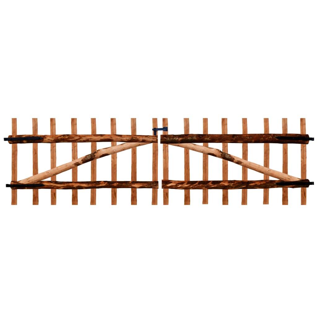 vidaXL Poartă dublă de gard, lemn de alun tratat, 300x90 cm vidaxl.ro