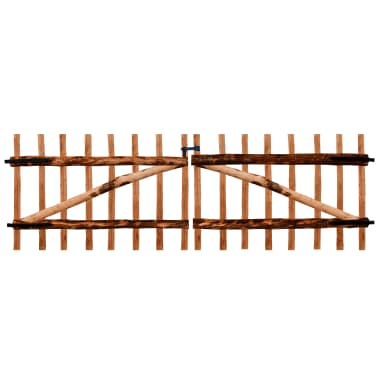 vidaXL Double Fence Gate Impregnated Hazel Wood 300x100 cm | vidaXL ...