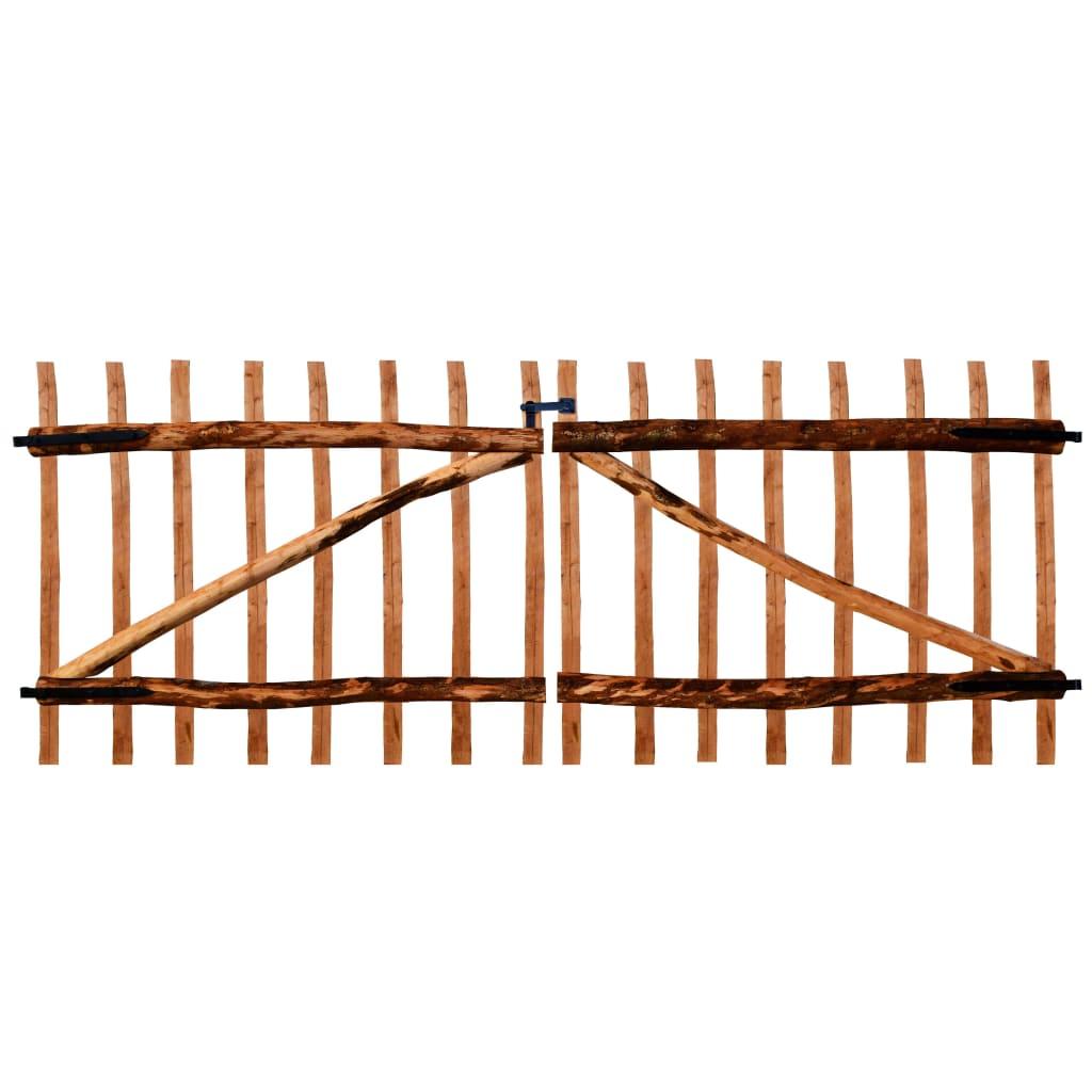 vidaXL Poartă dublă de gard, lemn de alun tratat, 300x120 cm poza 2021 vidaXL