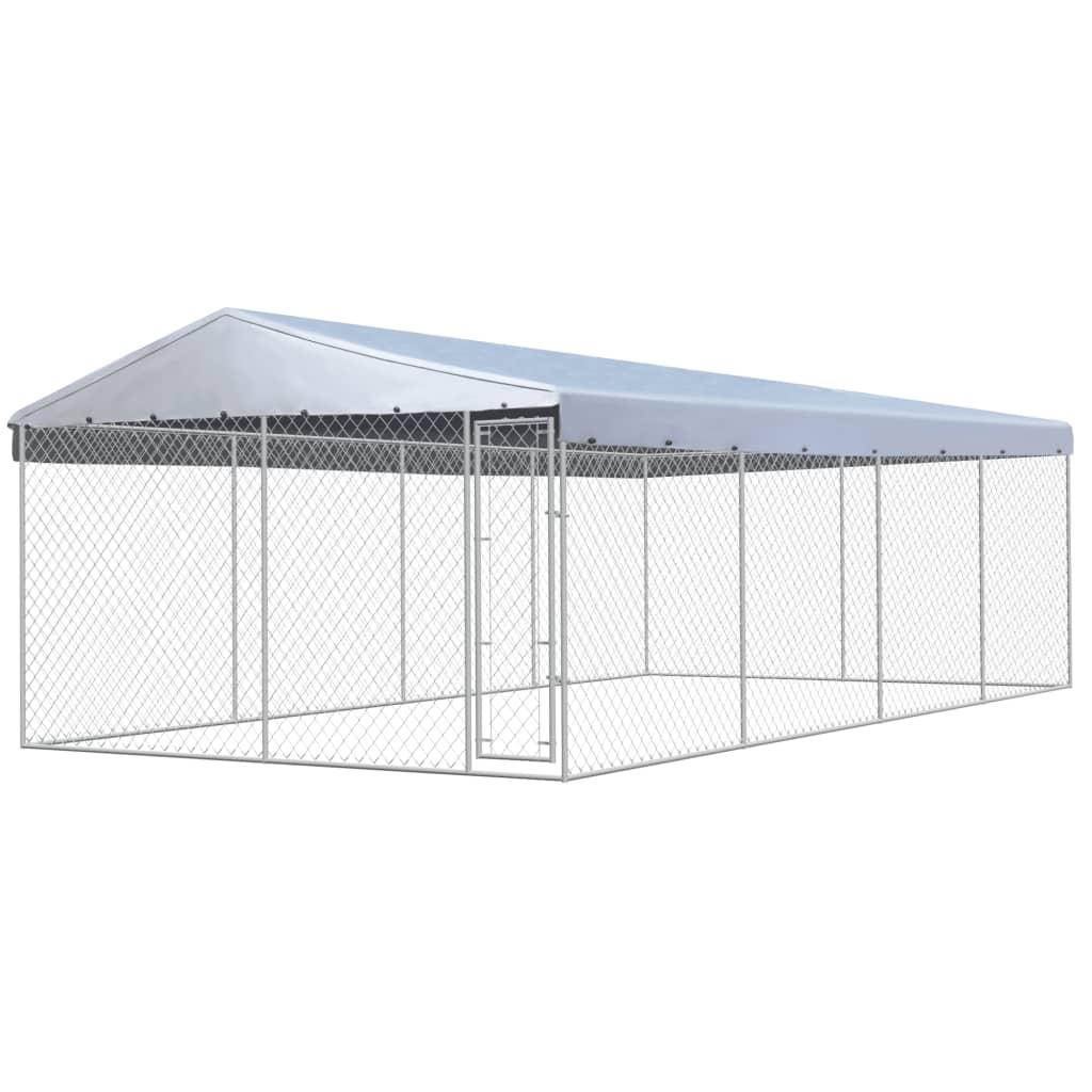 vidaXL Padoc de câini de exterior, acoperiș, 8x4x2,4 m oțel galvanizat poza vidaxl.ro