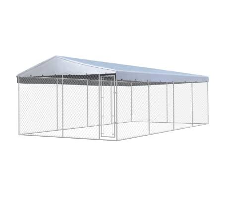 vidaXL Outdoor Dog Kennel with Roof Galvanized Steel 25'x13'[1/5]