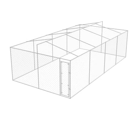 vidaXL Outdoor Dog Kennel with Roof Galvanized Steel 25'x13'[3/5]