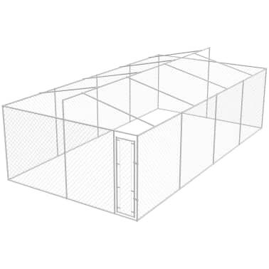 vidaXL Outdoor Dog Kennel with Roof Galvanized Steel 25