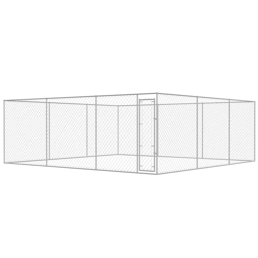 vidaXL Padoc pentru câini de exterior, 6 x 6 x 2 m, oțel galvanizat imagine vidaxl.ro