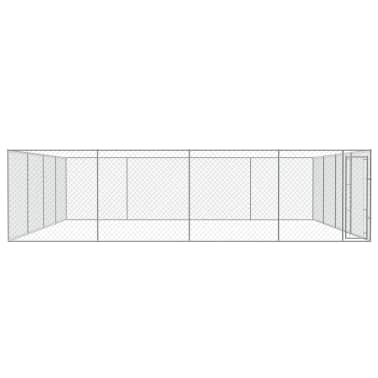vidaXL Outdoor Dog Kennel Galvanized Steel 25