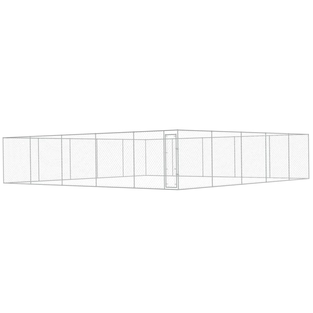 vidaXL Padoc pentru câini de exterior, 10 x 10 x 2 m, oțel galvanizat imagine vidaxl.ro