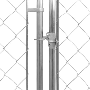 vidaXL Outdoor Dog Kennel Galvanized Steel 32