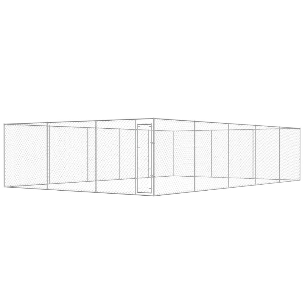 vidaXL Padoc pentru câini de exterior, 10 x 6 x 2 m, oțel galvanizat imagine vidaxl.ro