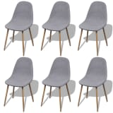 vidaXL Dining Chairs 6 pcs Fabric Light Gray